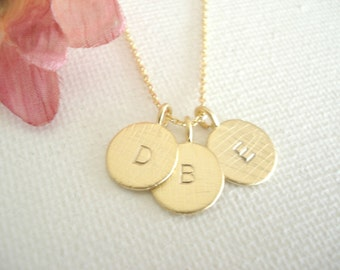 Initial Necklace...Gold personalized jewelry for bridesmaid gift, flower girl, simple everyday, bridal jewelry, bridesmaid gift