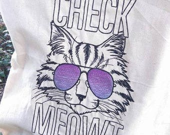 Cat Embroidered cotton shopper bag