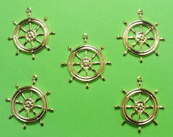 LOT 5 METALS CHARMS Gold: bar of boat 25mm