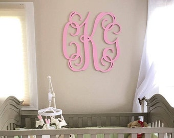 Painted Wooden Monogram- Wall Hanging Monogram -Nursery Monogram- Wedding Monogram - Monogram Door Hanger - Monogram Door Wreath -Wall Decor
