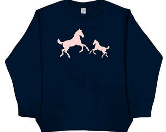 Cowgirl Horses Shirt - Kids / Girls Horse Pair Long Sleeved Navy Blue - Christmas Fleece Sweatshirt - Gift Friendly - Horse Lover