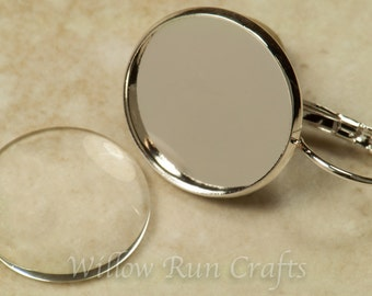 20 Silver Plated Earring Trays 16mm (10 pairs)with 20 Glass Domes Circles. (07-30-643)