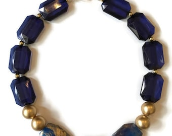 Statement Necklace - Gold and Blue Necklace - Gold Statement Necklace