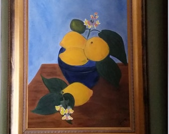 When Life Gives You Lemons-Put Them In A Bowl...Original Oil Painting by Evie Mineau, Framed, Ready to Hang