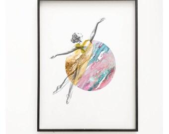 Opal & Gold - Watercolour Art Print