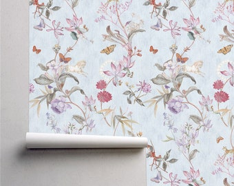 Tropical Butterfly and Blossom Wallpaper - Fresh Tropical Butterfly and Blossom Custom Printed Removeable Non-woven Wallpaper Roll by Harmez