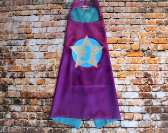 Girls Super Hero Cape, Purple with an Aqua liner and Silver Glitter Star, Options to add an initial and name, toddler size, child and adult