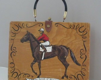 COLLECTOR'S DREAM!  Rare Vintage Enid Collins of Texas Wood Box Purse Horse Racing Jockey Equestrian Sport of Kings ~ Kentucky Derby
