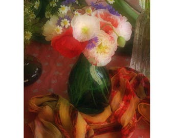 Red Poppy Art, Flower Print, Still Life Photography, Flower Wall Art, Floral Art Print, Baroque Decor,