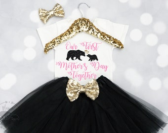 Baby Girls Our First Mother's Day Outfit,Mother's Day Onesie, Mother's Day Gift, Mother's Day Shirt, Happy 1st Mother's Day Onesie