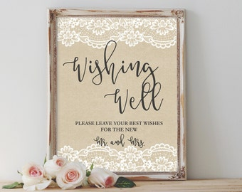 Rustic Wishing Well Sign Printable Wishing Well Sign Well Wishes Sign Wedding Sign Reception Sign Template Wedding Signage Instant Download