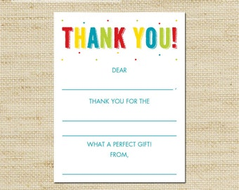 Rainbow Fill In Thank You Cards kids blank note cards FREE SHIPPING