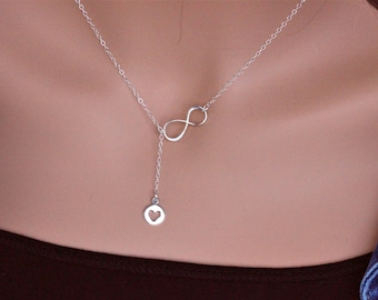 Mothers day gift Infinity Heart Y necklace , heart infinity necklace, Silver Lariat Necklace, Y Necklace, Infinity Necklace Wedding Jewelry