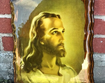 Vintage Lacquered Wooden Plaque with Image of Jesus - Religious Decor