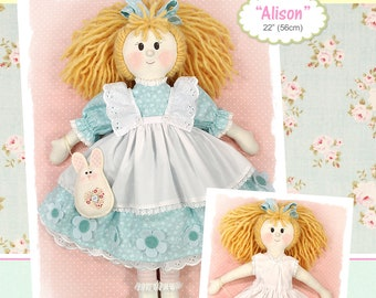 PDF - Alison Rag Doll Sewing Pattern - Instant download