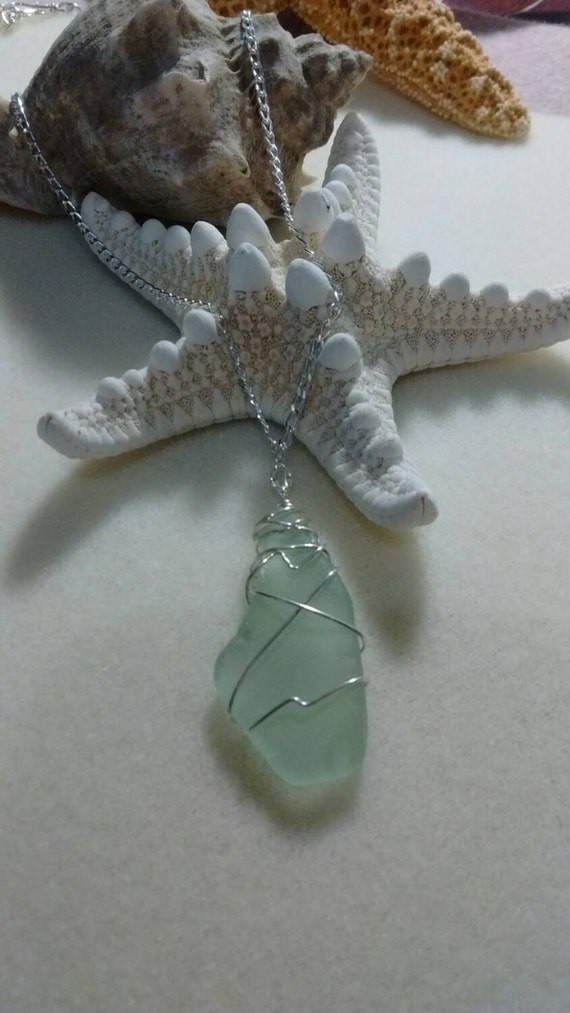 Green Wire Wrapped Authentic Sea Glass and Sterling Silver Necklace SG615176