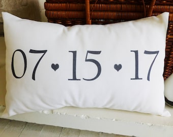 Save The Date Pillow for Wedding and Anniversary Gift