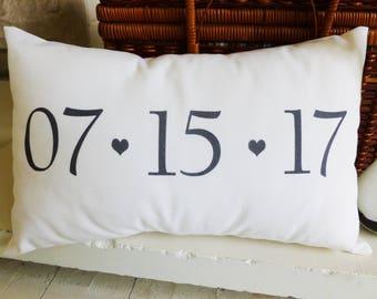 Wedding Gift | Date Pillow | Wedding Date Pillow | Wedding Date Gift | Gift for Wedding | Wedding Day Gifts