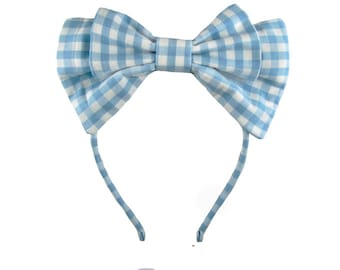 Lolita bow headbow classic plaid blue white gingham japanese fabric headband head band alice headdress handmade accessory