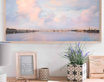 Large Panoramic wall art Landscape print Extra large art Cloud photography Pink and Blue art living room decor, 12x24, 24x48, St Petersburg