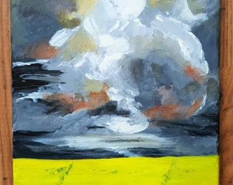 Original acrylic painting of rapeseed field and storm cloud on canvas