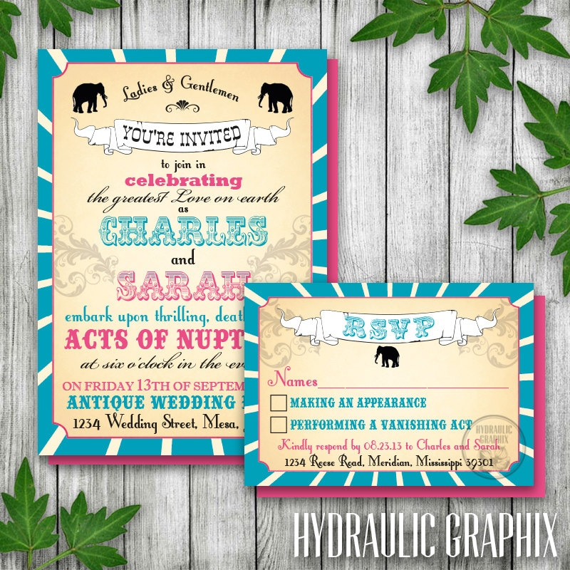 Vintage Printable Carnival Wedding Invitation and RSVP Circus