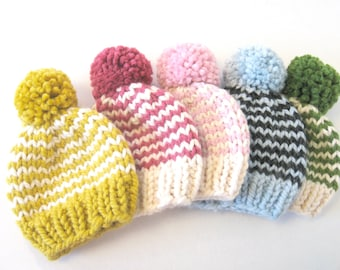 Baby Knit Hat / Child Chunky Striped Beanie / Knit Baby Hat Pom Pom / Toddler Knit Baby Hat / Knit Striped Child Hat