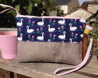 """Flat clutch """"Swans"""" / hand bag and strap"""
