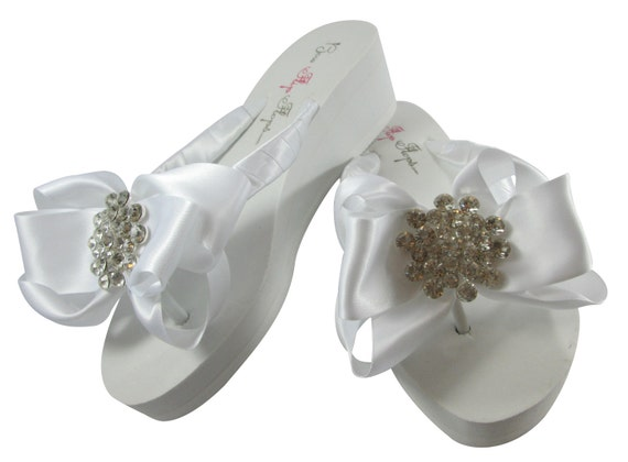 962524588 ... for Jewel Bling Bridal Bride the Heel Wedding Flops with Rhinestone Flip  or Bow bridesmaids Flat ...