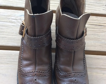 60s Vintage Mod leather boots ankle size 6.5