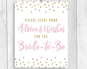 Printable Please Leave Your Advice and Wishes for Bride-to-be 5x7, 8x10 Bridal Shower Guest Book Sign - Light Pink Gold Glitter Polka Dots