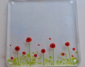 Coasters - drinks mats - fused glass coasters - poppy coasters.