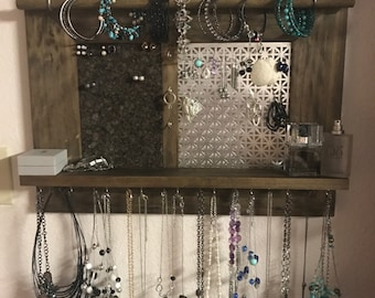 Wood Jewelry Organizer, wall hanging display , home decor,