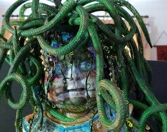 Medusa Horror Doll, Gorgon Baby Doll, One of kind living dead doll, Mindy Usula, Vintage Porcelain Doll