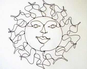 Sun Face--3-D  wire sculpture