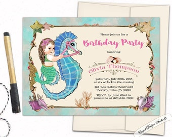 Mermaid birthday invitation Mermaid Watercolor birthday invitation mermaid birthday invitation printable Watercolor invite Printed invites.