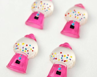 5 PC Gumball Machine Pink with little colored candy dots Realistic Resin Plastic Kawaii Decoden Kitsch Flatbacks Cabochons