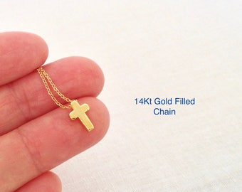 Gold Cross Necklace, Gold Cross Pendant, Gold Cross Charm, Tiny Gold Cross, Dainty Gold Cross, Baptism Gift, Simple Cross, Religious Gift