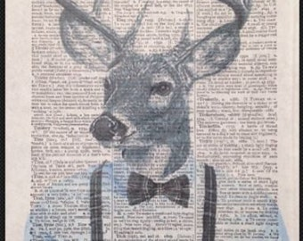 Stag Head Print Vintage Dictionary Print Page Wall Art Picture Grey Tartan Deer Hipster Suit Braces Animals