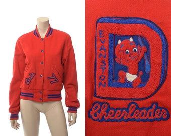 Vintage 70s Red Devils Cheerleading Wool Jacket 1977 Evanston Red Devil Baby Wyoming High School Rockabilly Coleman Letterman Style Jacket