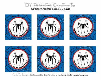 PRINTABLE Party Circles - Spider Hero- Favor Tags - INSTANT DOWNLOAD
