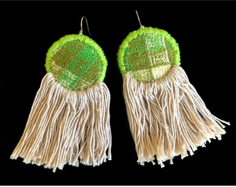 INDUS Earrings - 14 k Gold filled Ear Wire -  Cadenilla Embroidery (Green) -  Cotton Fringe (Natural Dyed)