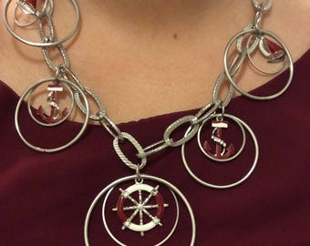 Nautical necklace Vintage silver tone 80s anchor, ship wheel red and rhinestones.