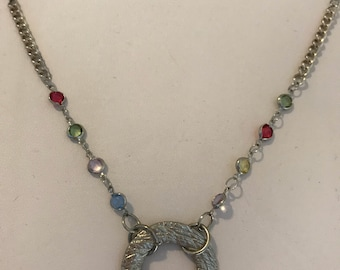 Circle Focal Necklace with Station Stones