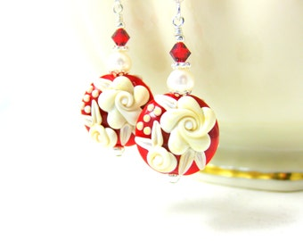 Red White Floral Earrings, Valentine's Day Jewelry, Ivory Rose Lampwork Earrings, Valentine's Gift for Her, Floral Jewelry, Romantic Jewelry