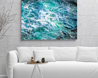 Luxury decor, metal wall art, extra large wall art, teal abstract, teal art, ready to hang, oversized wall art, luxury, seascape, abstract