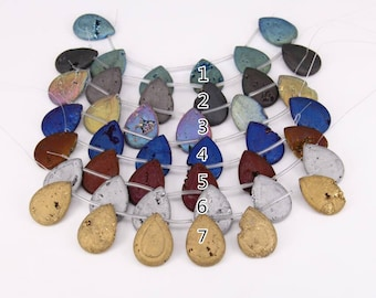 6pcs/str,more color choice,Large Titanium Druzy Geode Drilled Beads Cabochon Pendants,Raw Drusy Agate Stone Slab Beads in Teardrop Shape