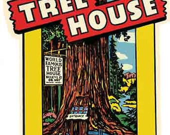 Vintage Style Redwoods California  National Park    1950's   Travel Decal sticker