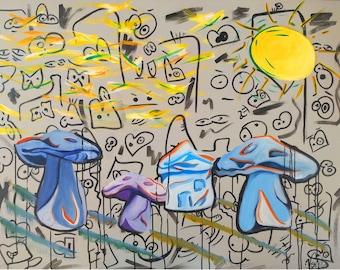 Smurf Village, 2015 --- Acrylic, Oil, Ink on Board, Streetart