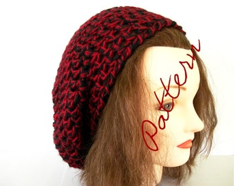 Crochet Pattern Chunky Slouch Hat Beret Tam Pattern 2 Colors